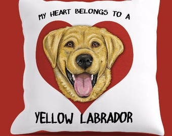 YELLOW LAB PILLOW Cover or Pillow, Yellow Labrador Pillow, Yellow Lab Throw Pillow