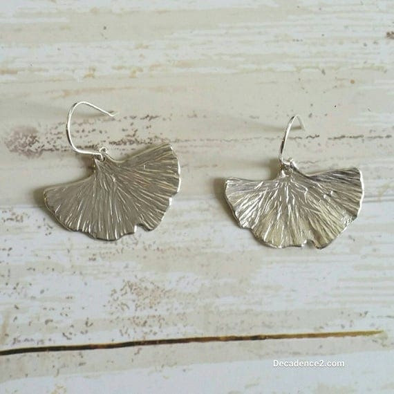 Sterling Silver Ginko Leaves Dangle Earrings