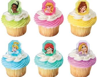 24 Disney Princess Gemstone Cupcake Rings/NEW/Birthday Supplies
