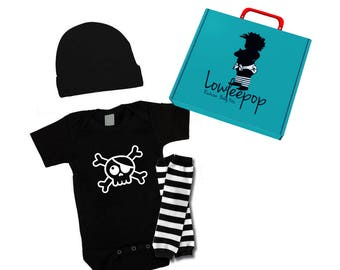ROCKSTAR BABY KIT Pirate Skull onesie, leg warmers, hat & optional gift box