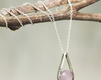 Silver teardrop pendant necklace with round cabochon pink chalcedony gemstone and sterling silver chain