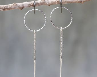 Hammer texture circle earrings and silver engraving stick with sterling silver oxidized hooks style
