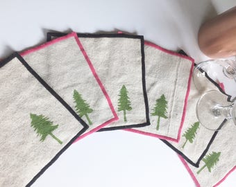 Cocktail Napkin Set of Six with Evergreen Tree design, Handmade in Seattle, 100% cotton cloth coaster, Pacific Northwest