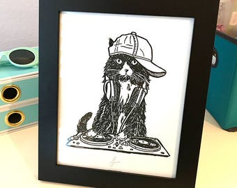 DJ EDM Cat 8x10 Black and White Rave Club Dance Turntable Print Wall Art Decor by GIGART