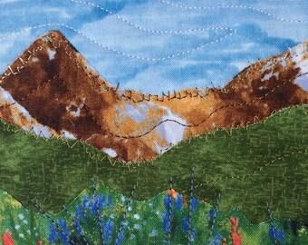 Housewarming Gift - Fabric Postcard - Teacher Gift - Mom Gift - Dad Gift - Hostess Gift - Mountain Landscape - Rustic Art - Mountain Art
