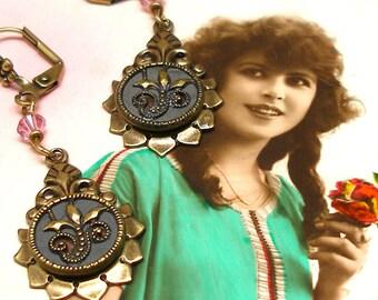 """Edwardian BUTTON earrings, Art Nouveau flowers in gray & pink on brass. 2"""""""