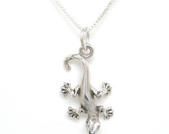 SALE Gecko Lizard Sterling Silver Animal Charm Pendant no. 1928