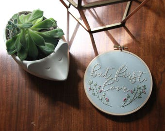 But first, love embroidered hoop art. Hand embroidery