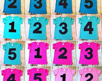 1 2 3 4 5 pink aqua blue  Birthday Shirt triblend grey cake theme ideas favor party pirate farm race car trucks boys tribal teepee girls