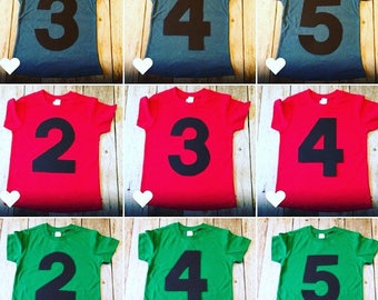 1 2 3 4 5 red kelly green blue  Birthday Shirt triblend grey cake theme ideas favor party pirate farm race car trucks boy tribal teepee girl
