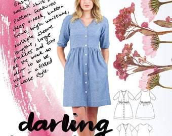 Megan Nielsen PATTERN - Darling Ranges Shirt Dress - Sizes XS to XL