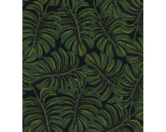 Rifle Paper Co. for Cotton + Steel FABRIC - Menagerie Rayon Lawn - Monstera in Midnight