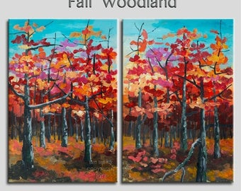 """Sale Art Painting Abstract Painting Original impasto modern tree art 48"""" MULTI colors landscape painting on gallery canvas by tim lam"""
