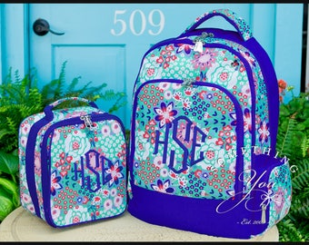 Garden Party Monogrammed Backpack and Lunchbox, Matching Set, Personalized School Bags for Girls, Blue and Mint Floral Bookbags