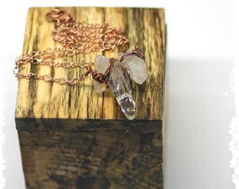 Crystal Point Necklace, Boho Wire Wrapped Quartz Necklace, Crystal Necklace, Quartz Point Short Necklace for Her, Wedding Jewelry*