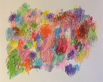 "Skirmish mixed media artwork on paper 14x17"""