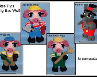 Crochet 3 Little Piggies & Big Bad Wolf Patterns