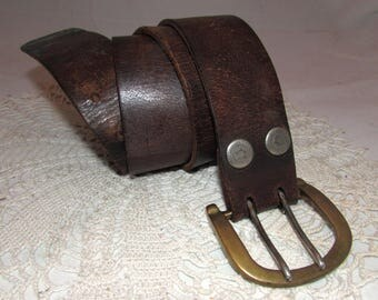 Vintage Worn Brown Leather Belt with Double Prong Solid Brass Removable Buckle and Stars on the Snaps,  accessory