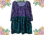 RESERVED For Sara. Upcycled Refashion Tunic Dress / Top. Purple and Green.