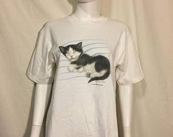 Closing Shop 40%off SALE Kitten Kitty Cat sleeping  t shirt