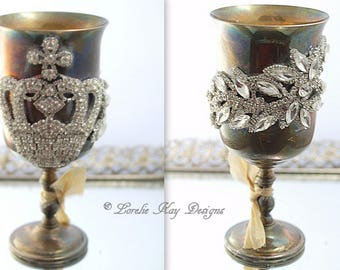Rhinestone Crown Wine Glass Flower Vase Vintage Silver Plate Elegant Crystals Goblet Lorelie Kay Designs Original