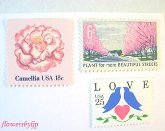 Vintage Pink + Blue Postage Stamps, Pink Flowers - Love Blue Doves Pink Heart Stamps, Mail 10 Pink Floral Cards, RSVPs 1 oz 49 cent postage