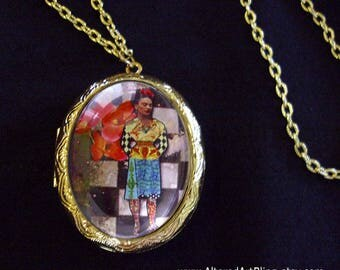 Frida Kahlo locket,  altered  art lockets... gift box included, Ready To Ship, Frida Kahlo jewelry,Day of the Dead, mixed media jewelry
