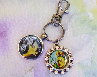 Frida Kahlo Portrait keyring with bling ...altered art, gift boxed, Frida Kahlo, Frida,  Frida Kahlo accessories