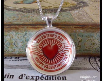 Valentine's Day pendants, illustration pendants,Ready To Ship in a  gift box,  gifts under 20 dollars, hearts, wings, red