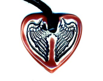 Wings Ceramic Necklace Extra Small in Red