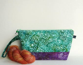 Wedge Bag, Small-Project Knitting Bag, Batik flowers and leaves in green and purple