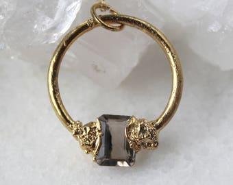topaz necklace, topaz pendant, gold necklace, electroformed, november birthstone, gemstone jewelry