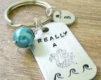 Personalized Mermaid Keychain, Really a Mermaid Keychain, faux teal pearl, optional initial disc, Mermaid Gift, Personalized Mermaid