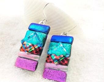 Fused glass earrings, dichroic glass earrings, dichroic glass jewelry, dichroic glass, statement earrings, rainbow jewelry, artistic jewelry