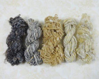Gold and Gray Handspun Wool Art Yarn Mini Skein Collection Variety Pack 50 yards grey gold cream