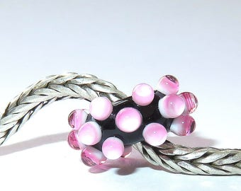 Luccicare Lampwork Bead - Pink Berry -  Lined with Sterling Silver