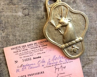 Victorian Stag Letter Clip - Brass Hand
