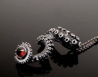 SALE SALE - Bullet Garnet Pendant, Octopus Jewelry, Tentacle Jewellery, Unisex sterling silver