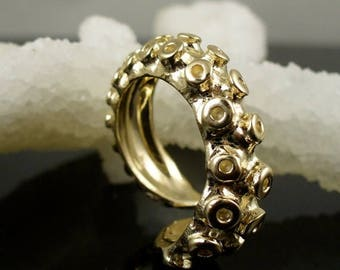 SALE 14K Yellow Gold Tentacle Ring, Engagement ring, Wedding Band, Octopus Jewelry