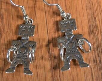 "Sterling Silver Earrings,Tall 1 inch"",Southwestern Native American , Aztec, Mayan Dangle Figurative Dancing"
