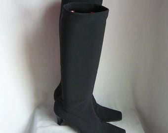 Vintage  ITALIAN Spandex Knee Boots / Size 7 m Eu 37 .5 UK 4 .5 / Kitten Heel Black WITCH Stockings / 1990s Italy