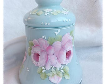 Aqua/Robins Egg Blue Apothecary Glass Candy Jar Hand Painted Pink Roses ecs svfteam