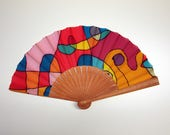 Handpainted Silk hand fan- Wedding hand fan-Abanico- Giveaways-Bridesmaids- Spanish hand fan-Red-Pink-Purple 14 x 7.5 inches (35 cm x 19 cm)