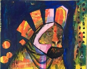 """Original """"Shaman""""  Painting,  Mixed-media, Visionary, Intuitive, Shamanic, Acrylic, Watercolor, Love, Magic."""