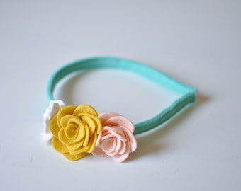 Felt Flower Headband - Pink Yellow and Teal Headband - Girl's Headband - Accessories for Kids