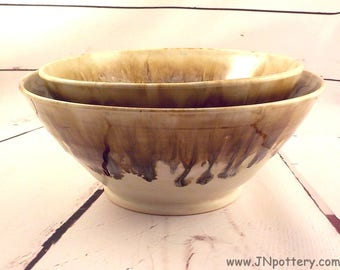 Nesting Bowls - Salad or Fruit Bowls - Large Serving Dishes - Creamy Beige with Runny Jasper Rims - Wedding Gift - Ready to Ship - b382/383