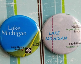 Lake Michigan, Michigan map magnets, set of 2