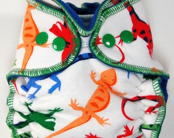 Cloth Diaper or Cover Made to Order - Bright Lizards - You Pick Size and Style - Custom Nappy or Wrap - Colorful Boy Diaper