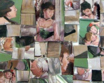 China Mosaic Tiles Degas Ballerinas Sakura Artist Broken China People Dancers Green Tan Tessarae