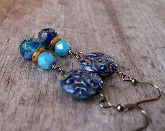 Gift for Her - Stocking Stuffer for Wife - Boho Earrings - Long Dangle Earrings - Statement Earrings - Blue Earrings - GB2017 Series